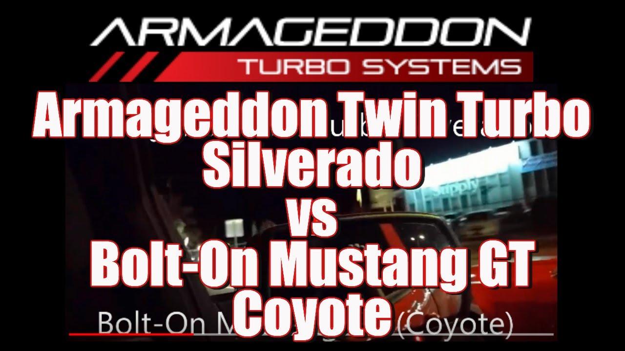 1/2 Ton Silverado Truck With Armageddon Twin Turbo vs  Mustang GT (Coyote)  - Armageddon power