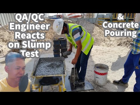 QA/QC Engineer Reacts on Slump Test and Concrete Pouring