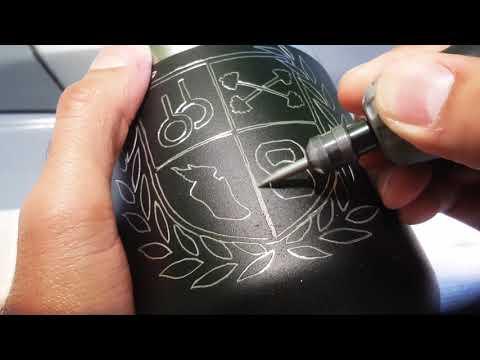Dremel engraving a Yeti stainless steel black