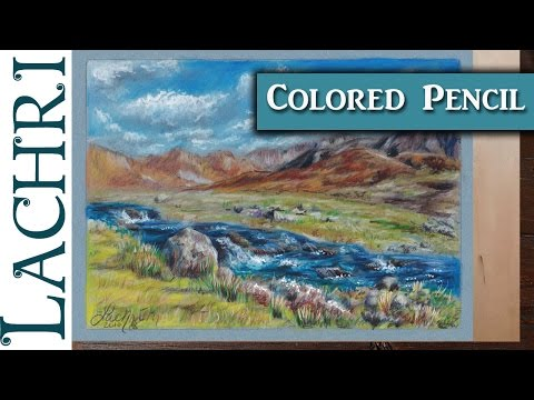 Colored Pencil Landscape on Mi-Teintes pastel paper w/ Lachri