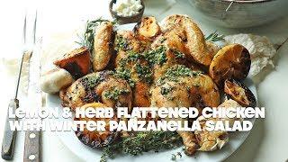 Lemon Herb Flattened Chicken with Root Vegetable Panzanella Salad