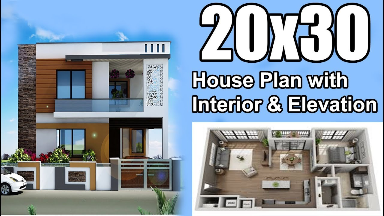 20x30 House Plan With Interior Elevation Car Parking