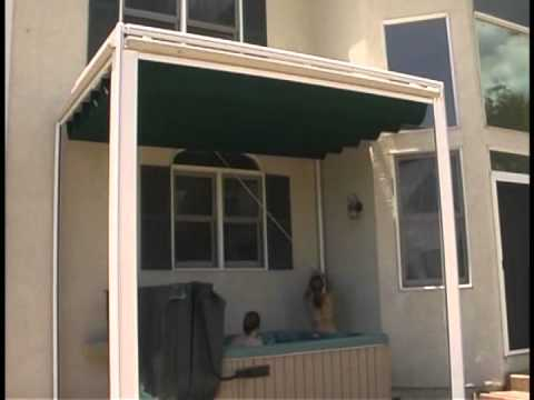 Aristocrat Retractable Canopy shading Hot Tub & Aristocrat Retractable Canopy shading Hot Tub - YouTube