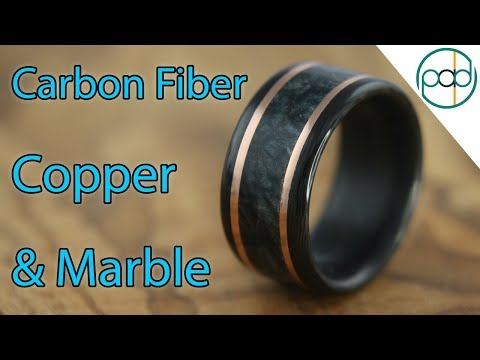 Making a Carbon Fiber, Marble, and Copper Wedding Ring!