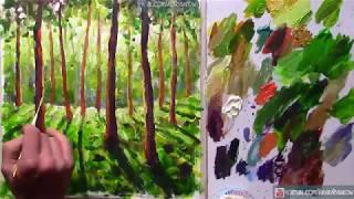 Как нарисовать картину Солнечный лесной пейзаж | Арт Терапия | №0759 УРОК РИСОВАНИЯ. Мастер класс