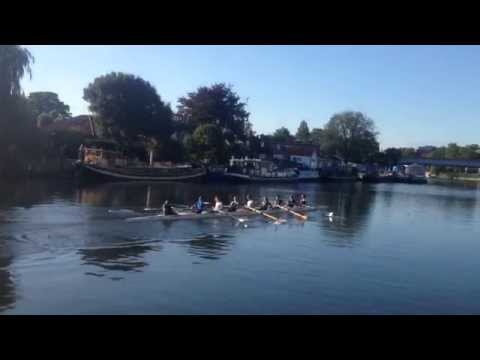 Rowing in Thames River, Thames Riverside in Staines-upon-Thames, Surrey