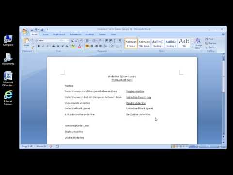 Microsoft Word 2007 Underline Text or Spaces