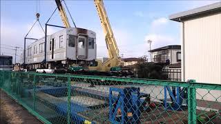 東京メトロ03系(03-804)須坂駅構内にて荷下ろし・台入れ
