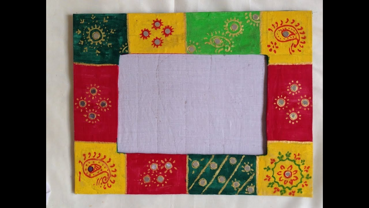 Diy Rajasthani Hand Painted Photoframe From Cardboard Best Out Of