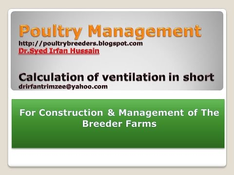 Poultry Management : Calculation of ventilation in short