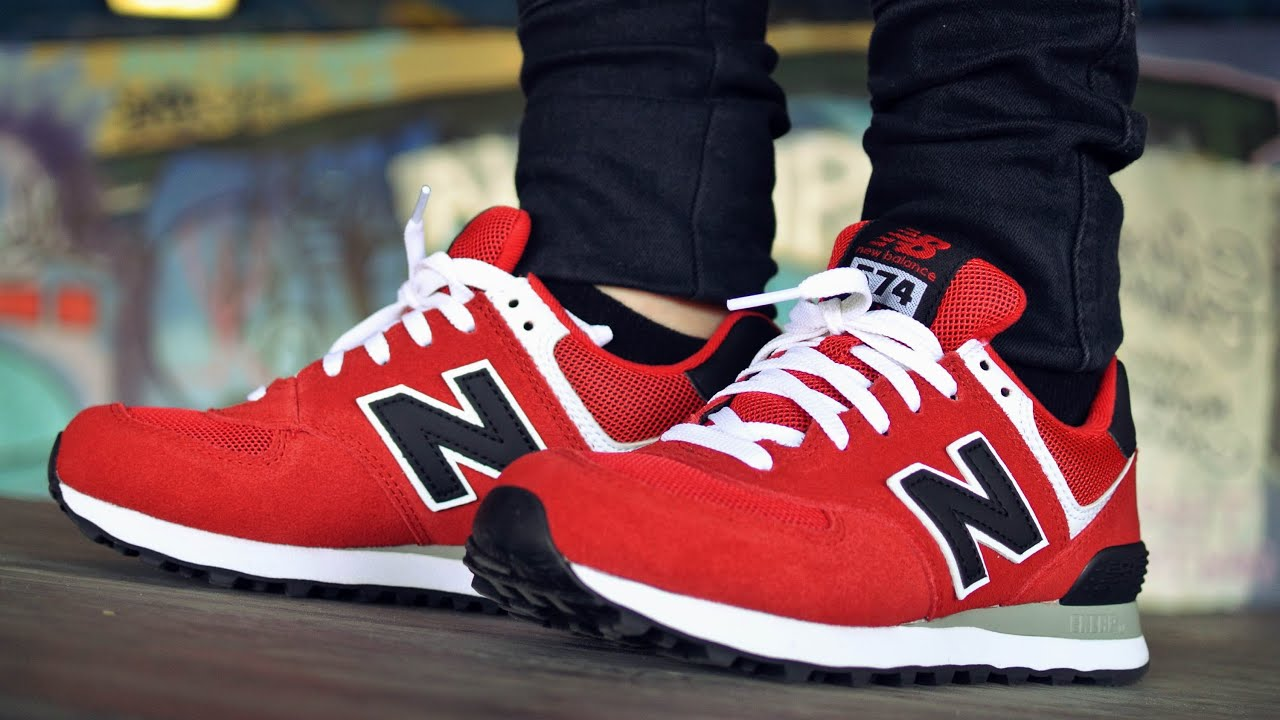 separation shoes 8b00a b6f65 New Balance 574 Red Black & White + On Feet HD