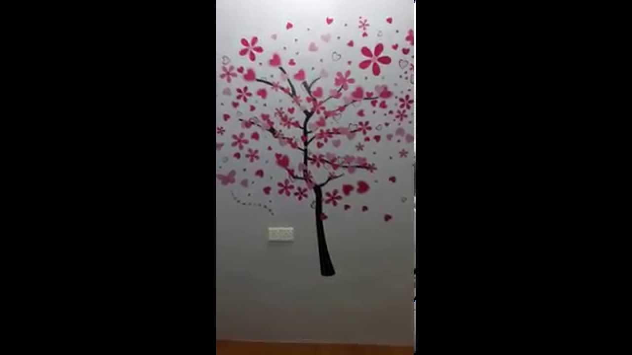 Pink Large Tree Wall Sticker World Applied In Maldives Hq Wall