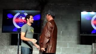 Zachary Levi Nathan Fillion Adam Baldwin Kissing For Charity NerdHQ ComicCon 2012