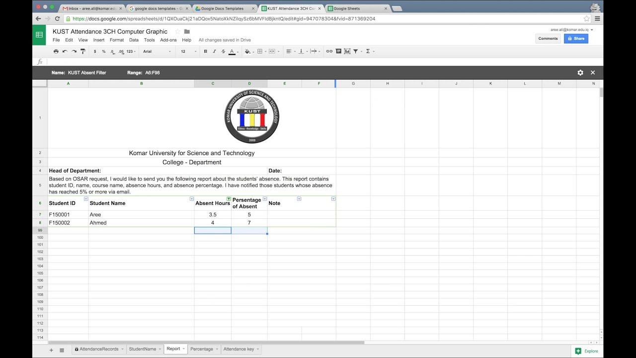 online attendance sheet by using google spreadsheet youtube