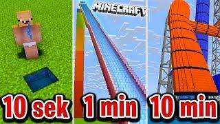 Minecraft BUDUJĘ ZJEŻDŻALNIE WODNĄ W 10 SEKUND, 1 MINUTĘ I 10 MINUT!