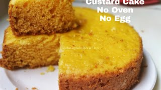 Eggless Custard Cake  No Oven Soft and Spongy