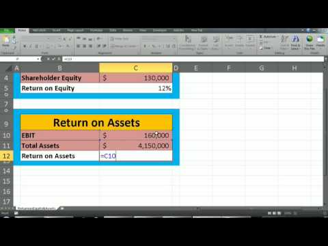financial analysis- Return on equity & Assets using excel