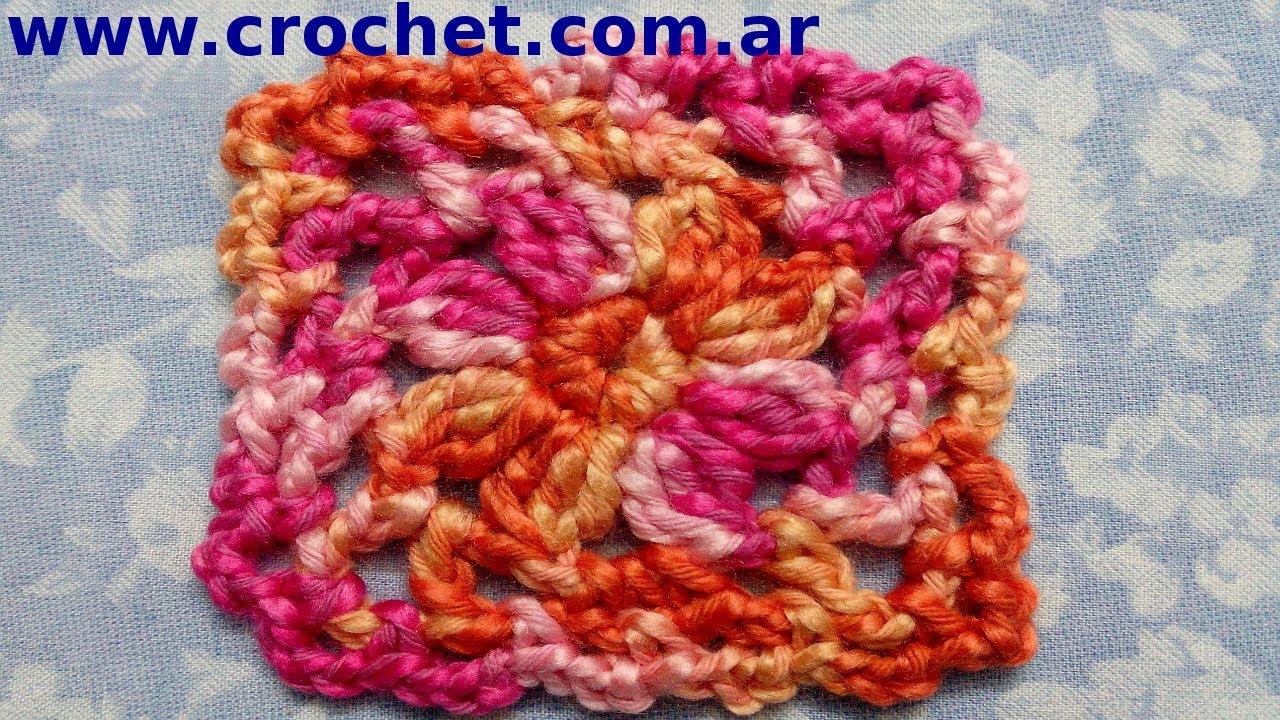 Motivo cuadrado granny square n 2 en tejido crochet - Cuadraditos de crochet ...