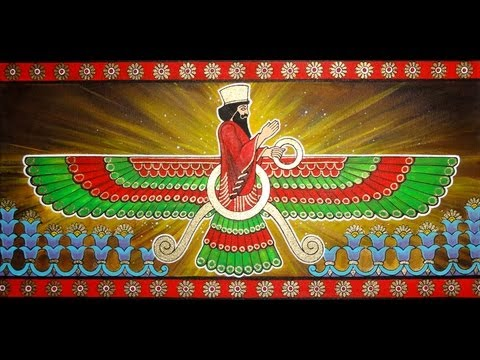 Painting of Faravahar Zoroastrian symbol, Iranian/Persian Art