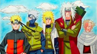 Drawing Naruto, Kakashi, Minato, Jiraya, Sarutobi - (10K SPECIAL)