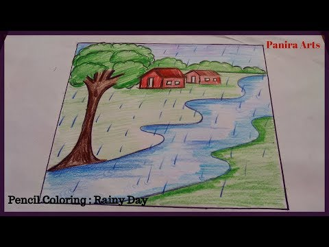 How To Draw Rainy Day Drawing For Kids Boy And Girl In