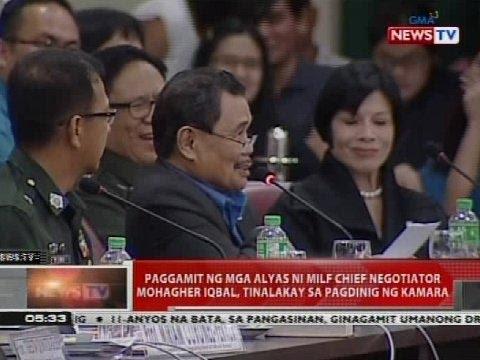 Paggamit ng mga alyas ni MILF chief negotiator Mohagher Iqbal, tinalakay sa pagdinig ng Kamara