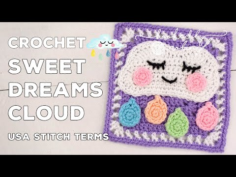 Crochet Sweet Dreams Cloud Square 🌧 | Unicorn Dreams Blanket CAL | Crochet Square Tutorial (Kawaii)