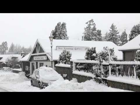 Storm Doris brings heavy overnight snowfall to Braemar in Scottish highlands 23rd Feb 2017