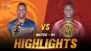 Northern Warriors vs Maratha Arabians I Aldar Properties Abu Dhabi T10 I  Day 1 Match 1