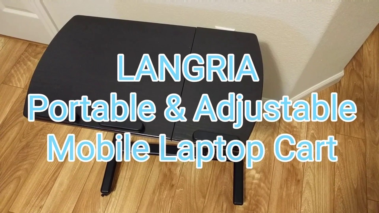 LANGRIA Portable U0026 Adjustable Laptop Cart Mobile Computer Desk
