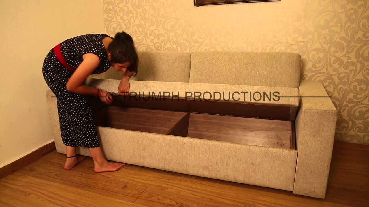 Furniture Advertisement Sofa cum Bed with Demonstration and