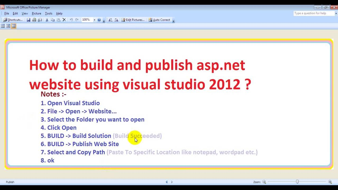 How to build and publish asp net website using visual studio 2012 ?