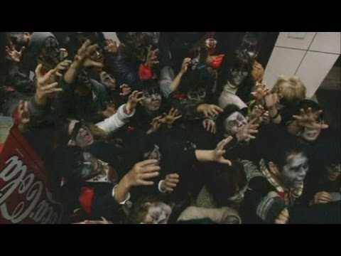 50 zombies go for a wander through streets of Tokyo