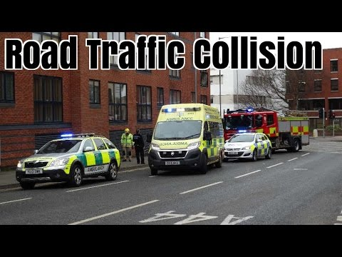 Police, Ambulances & Fire Engine responding & onscene to a collision