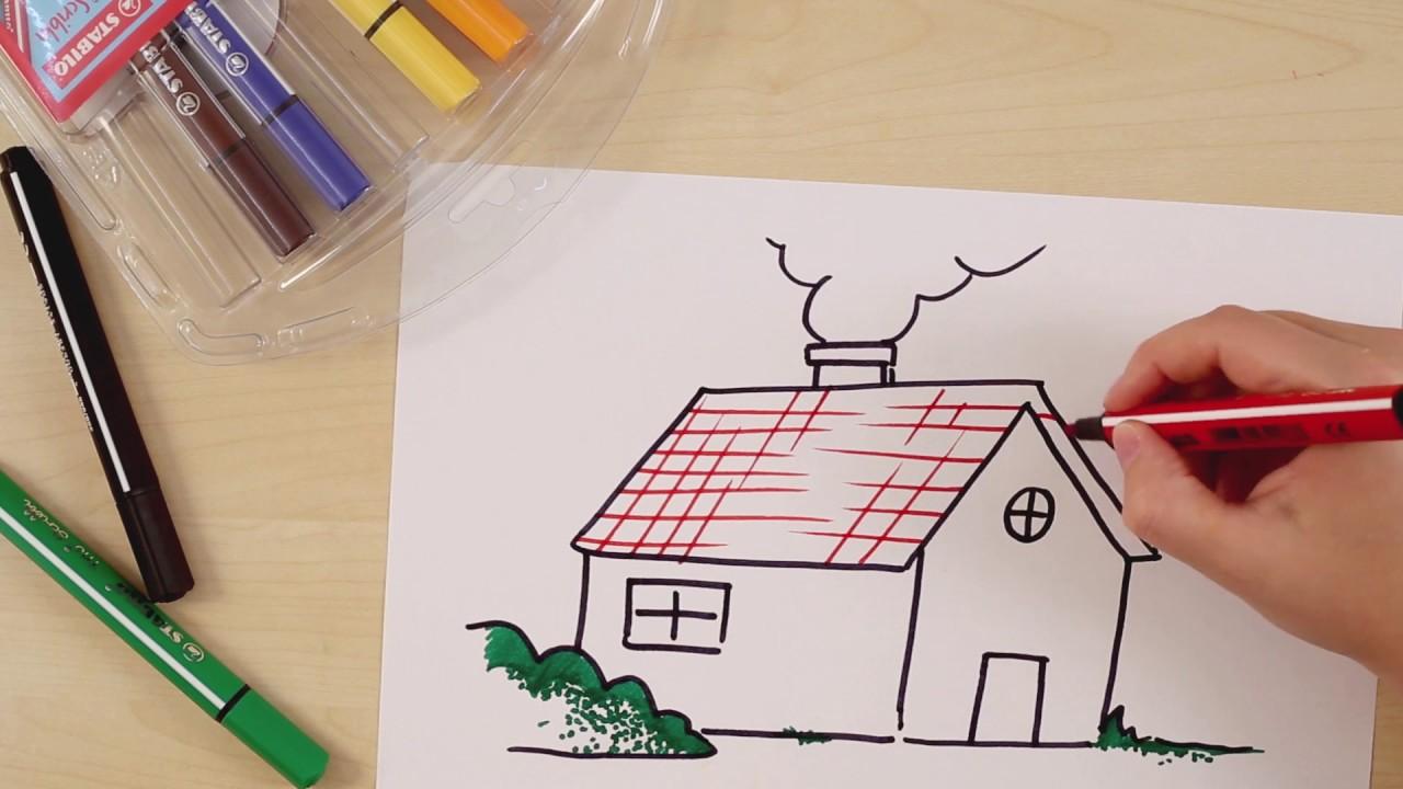 Hoe teken je een huis stabilo tekentutorials gemiddeld for Huizen tekenen