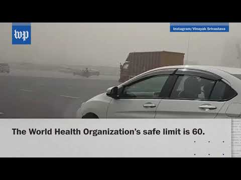 Air pollution in New Delhi is 10 times over the safe level