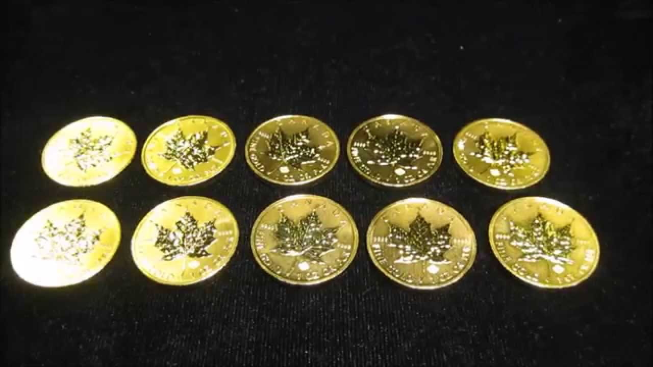 10 Oz Canadian Maple Leaf Gold Coin Stack Youtube