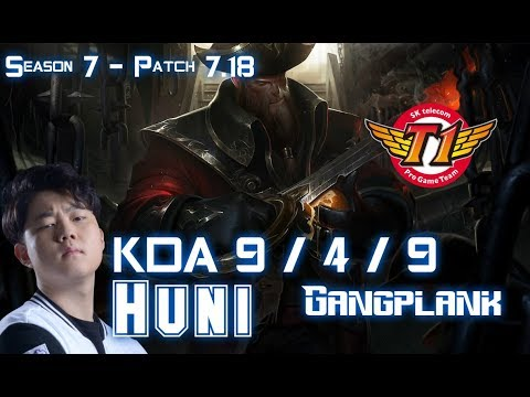 SKT T1 Huni GANGPLANK vs SHEN Top - Patch 7.18 KR Ranked