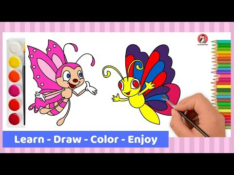 How To Draw Butterfly Step By Step For Kids | Drawing And Coloring Pages 2019