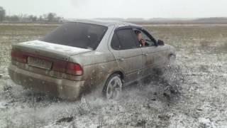 Тест драйв.  Зима.  Nissan sunny fnb 15.  4х4.  Дрифт. часть 1.