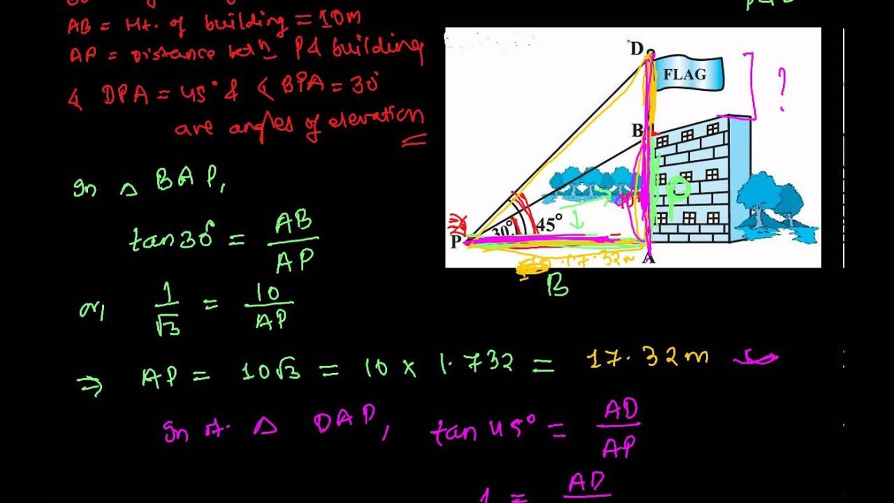How To Find The Height Of Flag - Application Of Trigonometry Word Problem
