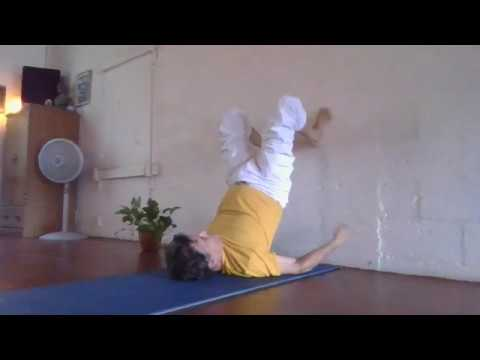 shoulderstand and plow from the legsupthewallposition