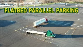 Aerial View of Truck Driving Student - FLATBED Parallel Parking