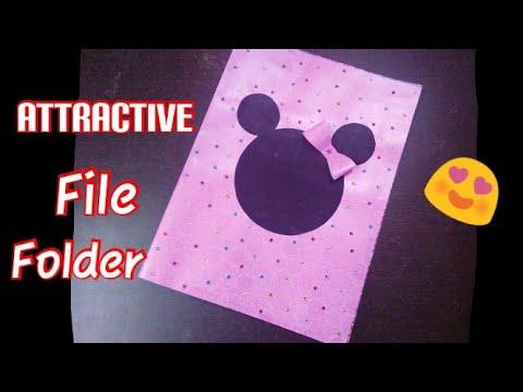 Kids Project Idea   How to make Handmade Folder at home Easy   Beautiful Folder File Decoration idea