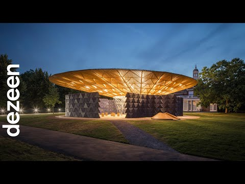 "Serpentine Pavilion glows at night to ""attract people to come and celebrate"" says Francis Kéré"