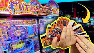 Turning in FIVE SETS of Marble Carnival Bonus Cards Exclusively at Round 1 Arcade!