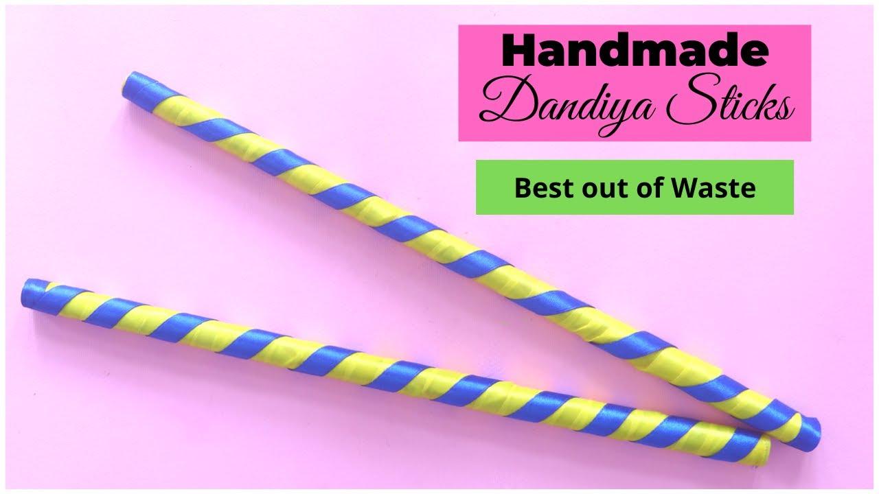 How To Make Dandiya Sticks from Waste Newspaper | Garba | Navratri