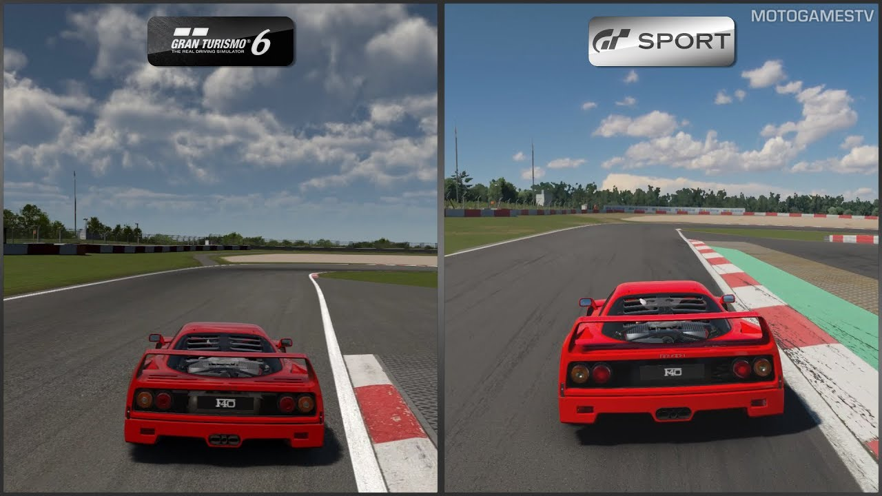 Gran Turismo 6 vs Gran Turismo Sport - Ferrari F40 at ...