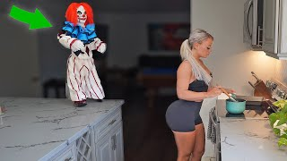 HAUNTED CLOWN PRANK ON WIFE (cute reaction)