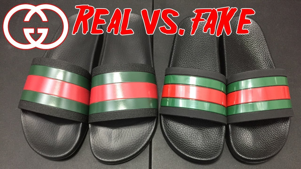 GUCCI SLIDES REAL VS. FAKE !!! DON\u0027T GET SCAMMED !!!